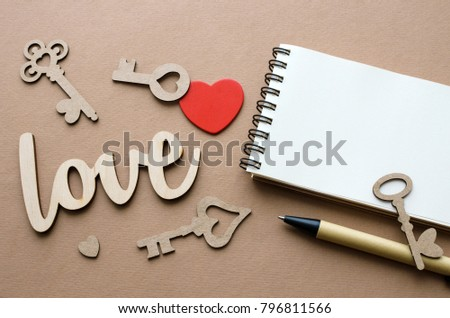 love, heart and a lot of keys card with copy space #796811566