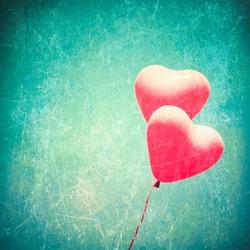 Love Heart Balloon in Vintage Blue Sky