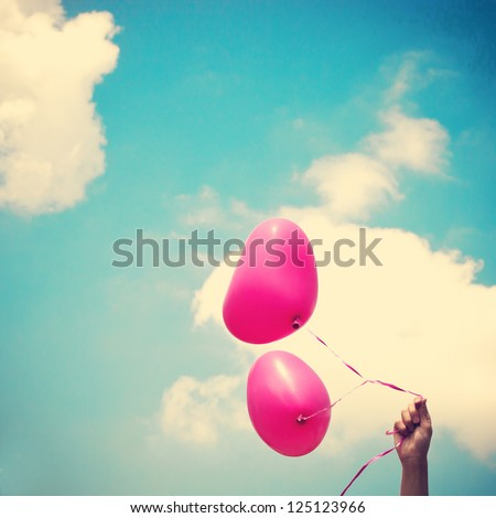 Love Heart Balloon in Vintage Blue Sky