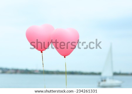 Love heart balloons outdoors