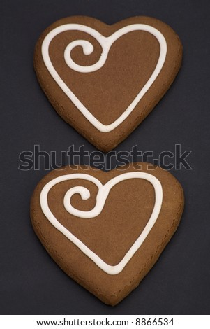 love heart black background. stock photo : Love heart Cookies isolated on a Black Background.