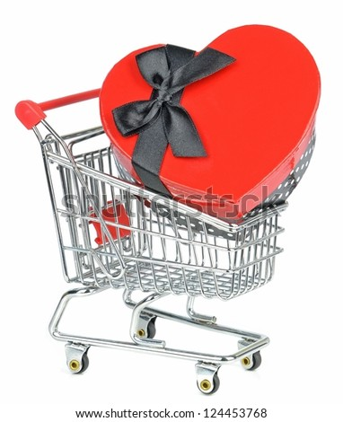 Love heart gift box in a shopping cart trolley