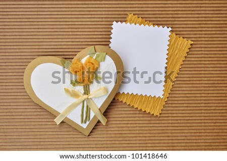 Love heart greeting or invitation card with blank paper emty for your text. Handmade paper cutout.