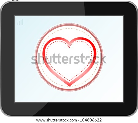 love heart icon for mobile devices tablet pc. raster