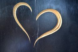 love heart in wooden  background