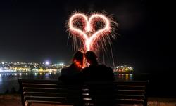 Love heart - light painting at Beach