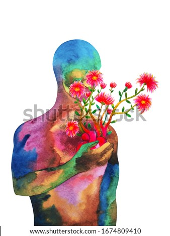 love heart mind mental kindness human art abstract spiritual health watercolor painting illustration design Foto stock ©