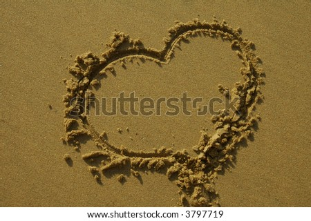 stock photo : love heart on sand