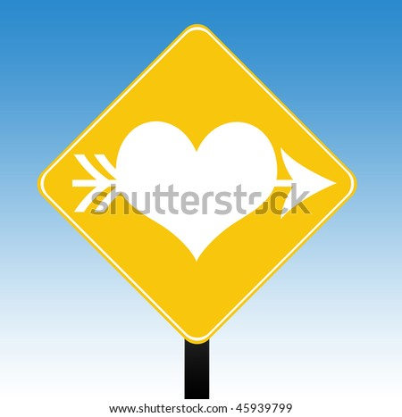 stock photo : Love heart road sign with a blue sky background.