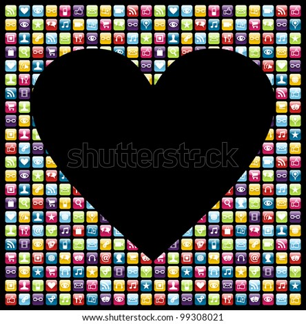 Love heart shape over phone application software icon set background.
