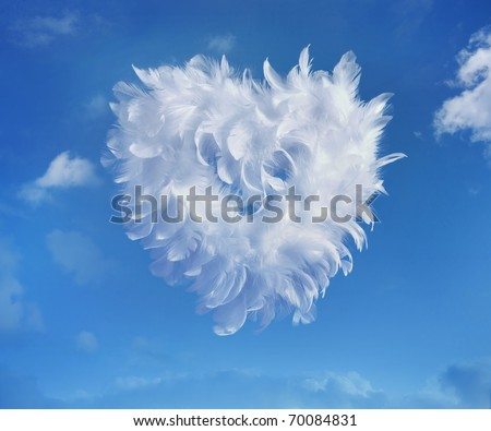 Love Heart soaring in the clouds