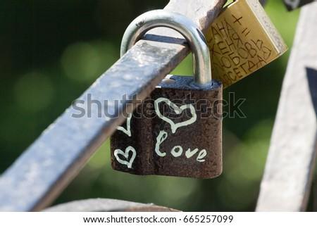 Love heart symbol eternal on metal lock. Romantic concept. Pretty valentine background #665257099