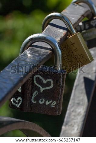 Love heart symbol eternal on metal lock. Romantic concept. Pretty valentine background #665257147