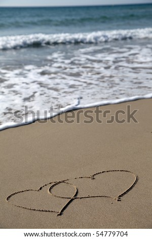 stock photo : Love Heart Symbols on sand