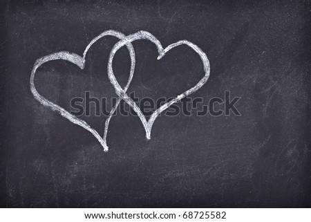 love hearts drawing on a school chalkboard