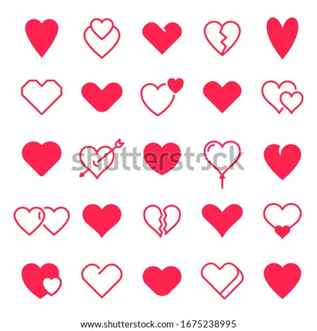 Love hearts icon. Abstract red loving heart symbols for valentines day, outline lovely red heart elements and love silhouette icons  isolated set. Romance linear and filled symbol bundle