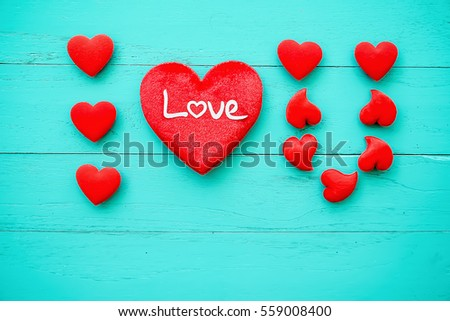 Love hearts on wooden background concept valentine day #559008400