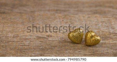 Love hearts on wooden texture background for Valentines Day Background, golden heart #794985790
