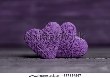 Love hearts on wooden texture background, valentines day card concept. original heart background. #557859547