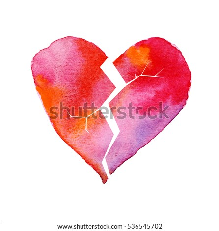 love hurt concept with artistic watercolor broken heart illustration for greeting cart, Valentine??s day poster and header