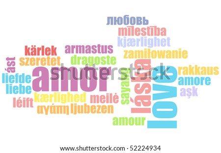Love in Many Languages Text Abstract Background - stock photo