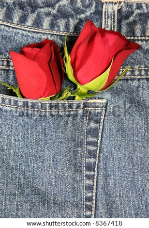 stock photo : Love in my pocket (vertical): A couple of roses tucked in a denim pocket. Conceptual image for love, valentine's day, etc.