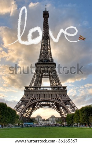 Love in Paris Eiffel Tower France Concept - Me and You