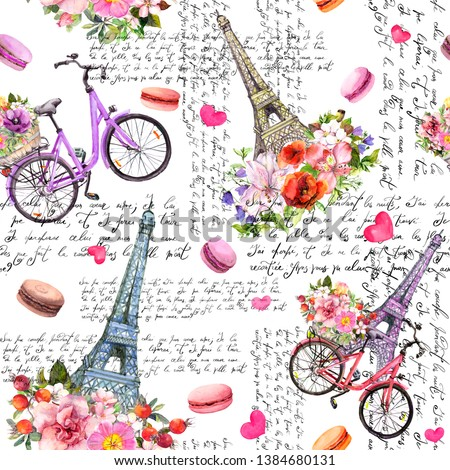 Love in Paris. Eiffel tower, hearts, flowers, bicycle, macaroons, hand written french text. Watercolor seamless pattern