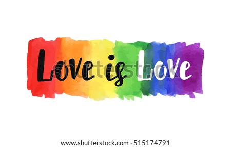 Love is love hand lettering written on a watercolor rainbow spectrum pride flag, isolated on white. LGBT rights concept. Modern poster, cards design Сток-фото ©