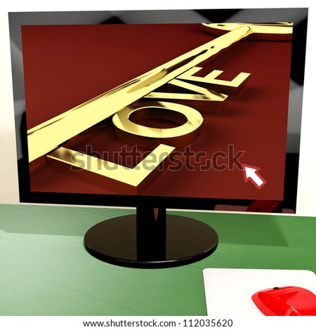 Love Key On Computer Screen Shows Online Dating