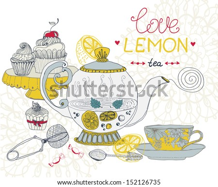 love lemon tea card, beautiful hand drawn illustration