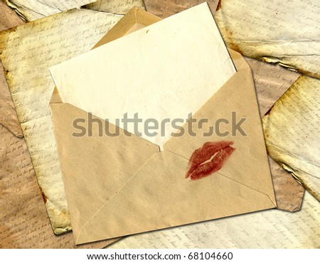 Love letter on a paper background.