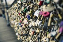 Love lock on a bridge in Paris