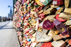 love locks at the Hohenzollern Bridge in Cologne/ Germany