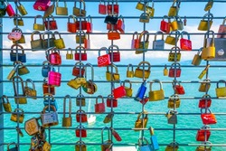 Love locks hanging on a lookout tower in friedrichshafen, germany.