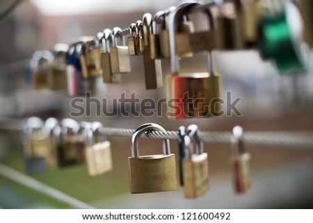 Love locks on a bridge close up shoot