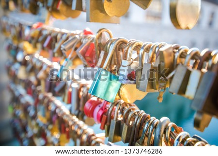 Love locks on a bridge in Europe. Ljubljana, Europe #1373746286