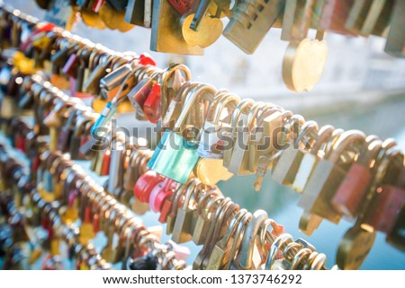 Love locks on a bridge in Europe. Ljubljana, Europe #1373746292