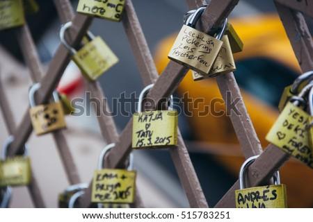Love Locks on the Brooklyn Bridge, New York City.