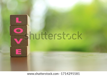 LOVE. Love life, love everything you do, loving yourself and others in single word concept, printed on wooden blocks on light green background with copy space for your text or design. Stock photo ©