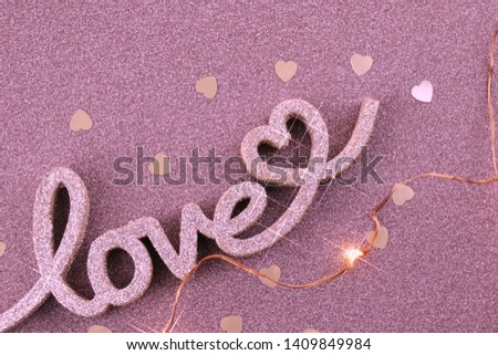 love. Love word on a brilliant pink background. Valentine's Day. Romance #1409849984