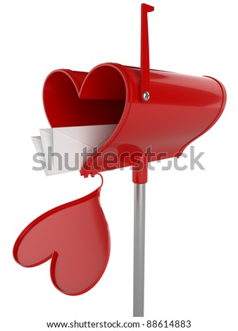 Love mailbox isolated on white background.