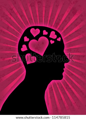 Love - Man head silhouette with hearts instead of brain - stock photo
