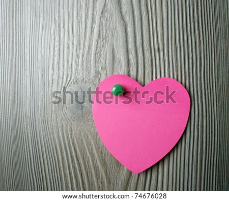 Love message on a wooden background