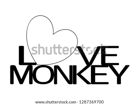 Love Monkey with a heart as a symbol of love, togetherness, harmony and friendship.