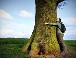 love nature, woman hugging huge tree trunk