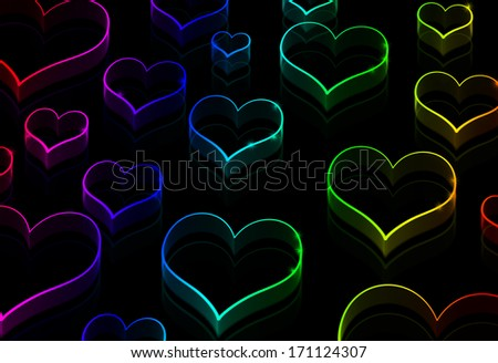 Purple Hearts Fading Seamless Pattern Black Vector Background