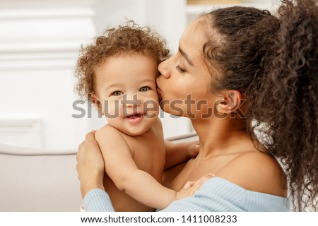 Love of a mother and baby. Family in the house. Lifestyle