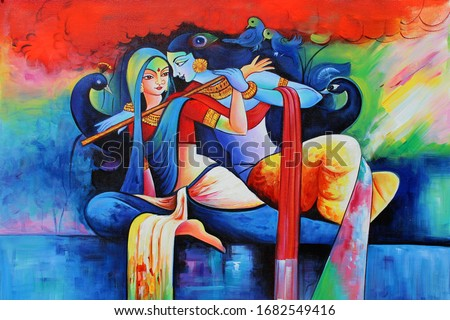 Love of Lord Radha Krishna with flute Hindu religious decorative pattern canvas acrylic oil painting. Textured Artwork Artistic 3D Wallpaper Stock photo ©