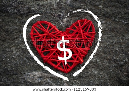 Love of money. A dollar sign on a red heart. Love theme #1123159883